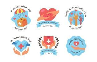 conjunto de adesivos do dia humanitário vetor