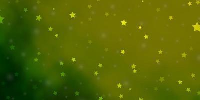 de fundo vector verde e amarelo claro com estrelas pequenas e grandes.
