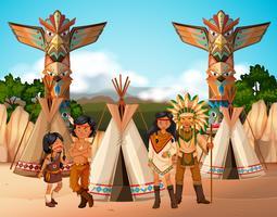 Índios nativos americanos no acampamento