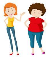 Mulher magro e mulher gordinha