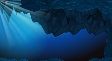 Uma caverna subaquática escura backgroubd vetor