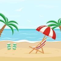ilustração em vetor da costa do mar com uma espreguiçadeira e guarda-chuva.