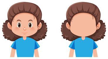 Personagem facial feminina isolada vetor
