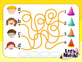 Modelo de jogo com correspondência de crianças e chapéus vetor