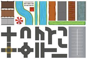 Construções diferentes de estradas e pavimentos vetor