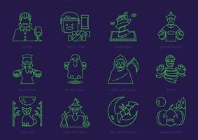 conjunto de ícones de contorno de halloween vetor