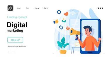 conceito web de marketing digital vetor