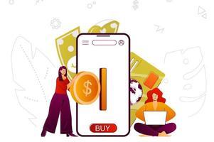 conceito web de mobile banking vetor