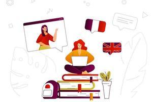 conceito web de aprendizagem online vetor