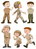 Soldados em diferentes ações vetor