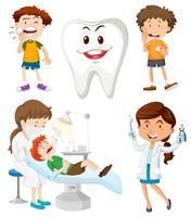 Meninos com problemas dentários vetor