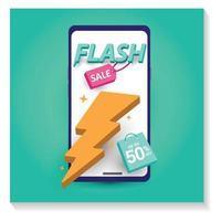 Ilustração 3D, modelo de design de venda flash banners. vetor
