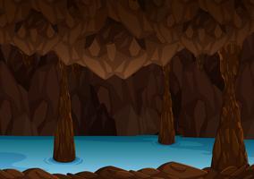 Caverna subterrânea com rio vetor