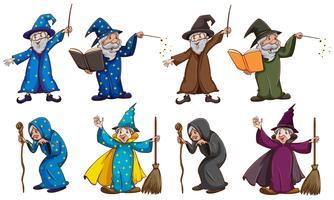 Bruxa e mago com varinha mágica vetor