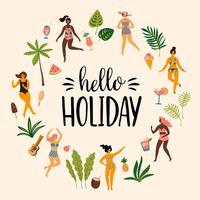 Vector a ilustração de ladyes da dança nos roupas de banho e nas folhas de palmeira tropicais.