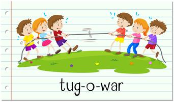 Crianças, tocando, puxão-o-guerra vetor
