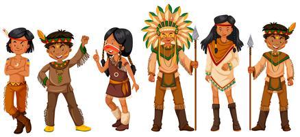 Muitos índios nativos americanos em trajes vetor