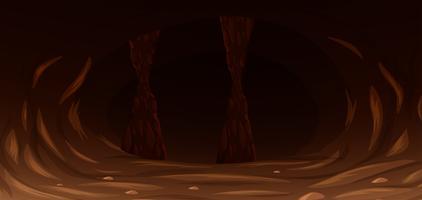 Uma caverna escura e assustadora vetor