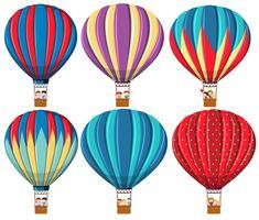 Conjunto de balão de ar quente vetor
