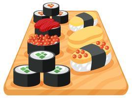 Um conjunto de sushi japonês vetor
