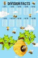 Cartaz de fatos de divisão com abelhas vetor