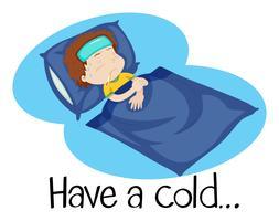 Uma illustartion de uma criança com um resfriado