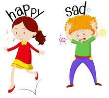 Feliz, menina, e, triste, menino vetor