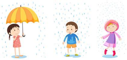 Um conjunto de proteção contra chuva vetor