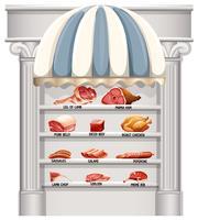 Prateleiras cheias de diferentes tipos de carne vetor