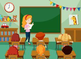 Professor e alunos em sala de aula vetor