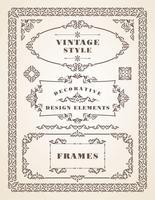 Conjunto de quadros Vintage retrô e bordas. vetor