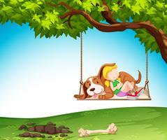 Uma menina e um cachorro na natureza vetor