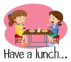 Meninas, tendo almoço, em, cafeteria vetor