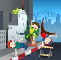 Bboy Street Dance Battle na cidade vetor