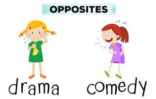 Palavras opostas com drama e comédia