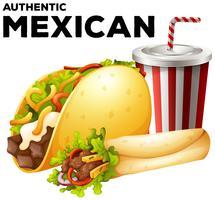 Comida mexicana com taco e burrito vetor