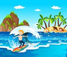 Ilha da praia de verão ec vetor