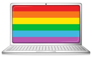 Computador portátil com tela de arco-íris