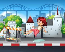 Uma mulher escorregada por uma poça de água vetor