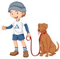 Menino, com, seu, cão vetor