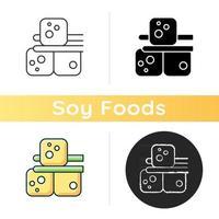 ícone de tofu. comida feita de leite de soja vetor