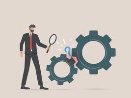 empresário busca por soluções de problemas conceito de análise de pesquisa vetor