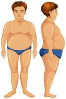 Homem gordo dianteiro e lateral vetor