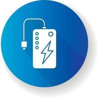 ícone de glifo sombra longa design plano banco de energia vetor