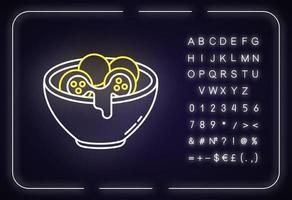 pão de queijo ícone de luz neon vetor
