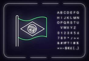 ícone de luz de néon da bandeira do brasil vetor