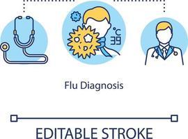 ícone do conceito de diagnóstico de gripe vetor