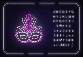 ícone de luz de néon de máscara de máscara vetor