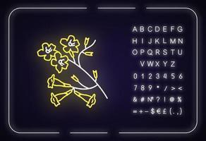 ícone de luz de néon plumeria. árvore ipê vetor