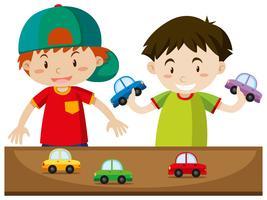 Dois meninos, tocando, com, carros vetor